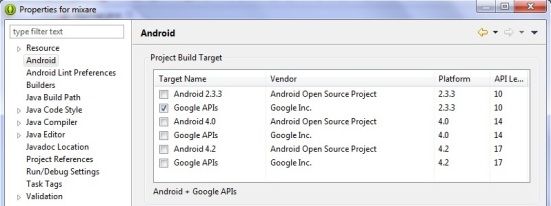 Set Android API